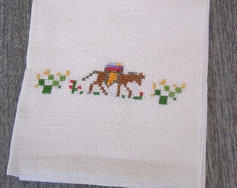 Vintage Tea Towel with Donkey Motif