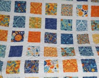Nature's Flight Lap Quilt - Blue, Yellow & Orange Patchwork