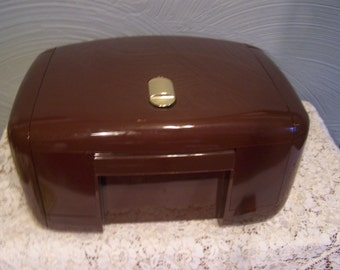 "Vintage Brown Jewelry Box, Jewelry Organizer, Plastic, 1980s,""The Jewel Kit"", Jewelry Chest, Trinket Box"