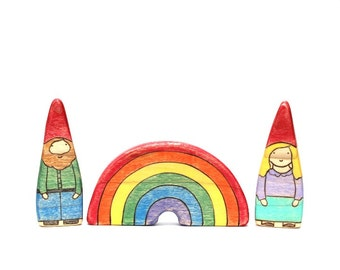 wood gnome toys, wood rainbow toy, waldorf wooden toys, gnome figurine, wood toys