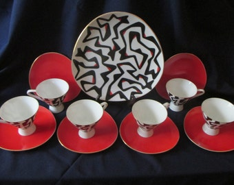 Fantastic Abstract Mod Narumi China Set - Red & Black on White