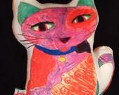 Calico Cat Plush Mini Pillow - Kids Artwork Decorative Pillow - Cat Cartoon Plush Pillow - Kids Rainbow Cat Minky Mini Pillow