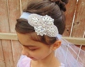 ON SALE Flower Girl Headpiece, Rhinestone Headpiece, Bridal Headpiece, Baptism Headband, Pearl Headpiece