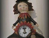 Assemblage art - papier mache- folk art - ooak doll The Midnight witch doll