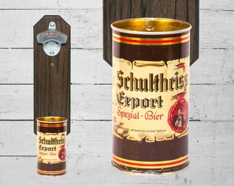 Schultheiss Beer Wall Mounted Bottle Opener with Vintage Beer Can Cap Catcher - Gift for Groomsmen - Barware - Mancave - Best Man