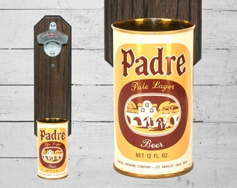 Padre Wall Mounted Bottle Opener with Vintage California Beer Can Cap Catcher
