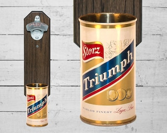 Storz Triumph Wall Mounted Bottle Opener with Vintage Nebraska Beer Can Cap Catcher - Gifts for Groomsmen