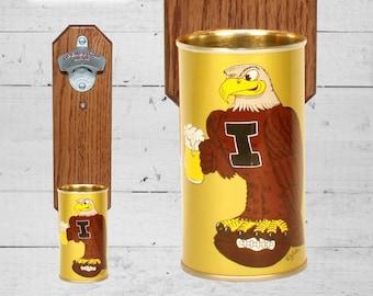 University of Iowa Hawkeye Bottle Opener with Vintage Beer Can Cap Catcher - Groomsmen Gift