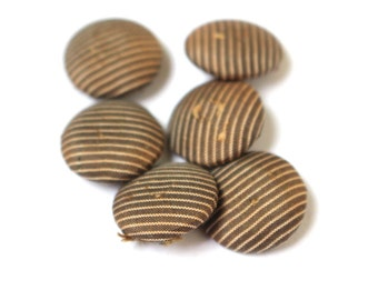 Victorian Fabric Buttons Brown Pinstripes x 6