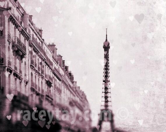 Pink Eiffel Tower Prints with Hearts, Paris Photography, Pink, Pastel, Neutral, Paris Prints
