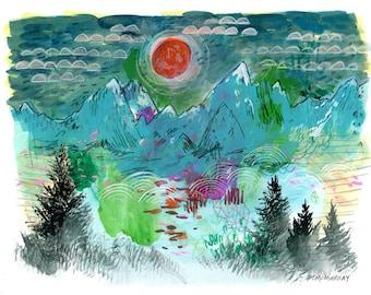 9 x 12 original mixed media mountain landscape art work