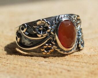 Carnelian ring, stone ring, Tibetan ring, boho ring, hipster ring, Silver Ring, gypsy ring, twotone ring, wide ring - Three Sunrises - R2223