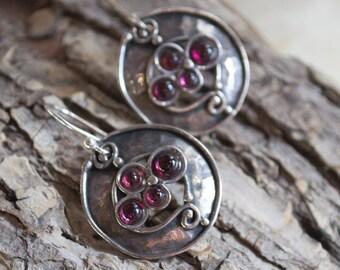 Garnet earrings, Boho earrings, gemstone earrings, Rustic silver earrings, gypsy earrings, bohemian earrings - Free association E2012