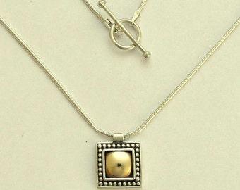 Square pendant, gold pendant, oxidized silver necklace, twotone pendant, sterling silver necklace, mixed metal necklace -  Gold Nougat N0428