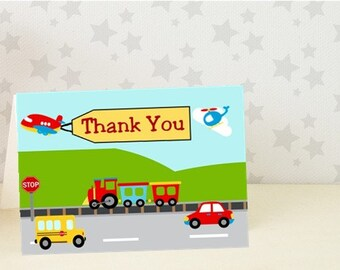 Birthday Thank You Card /Transportation / 10 PRINTED Cards / with envelopes