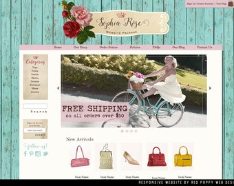 Boutique Website OOAK, Website Design, Ecommerce Website Template, rustic chic shabby website, Shabby Chic Web site, web site template