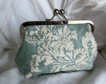 Teal Mint Green Floral Clutch Makeup Bag Bridesmaid Clutch