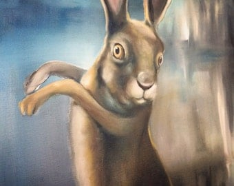 Original Framed Oil Painting 22x26 Surreal Rabbit Hare - Land