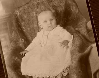 Baby Cabinet Card, Christening, Early 1900's, Edwardian, Victorian Baby