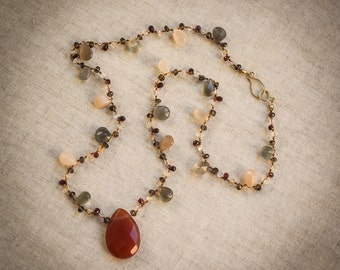 Moonstone- Sunstone necklace with 14 karat gold clasp to light up your life!