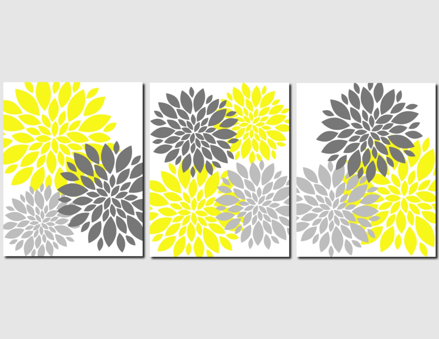 Yellow Flowers Wall Decor : Yellow gray wall art home decor flower burst floral by