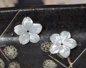 Mother of Pearl Flower Cabochon 14mm, White MOP Shell STAR Flower, Carved  Center Drilled Hole- (V1207)/ 10pcs