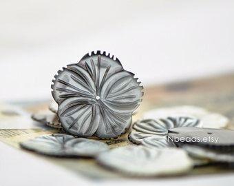 Black Mother of Pearl Shell Carved Flower 30mm Large, Center Drilled Hole -(V1209)/ 10pcs