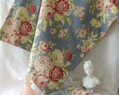 Vintage Style Barkcloth with Cabbage Roses Standard Pillowcases / Cottage Chic Barkcloth Pillowcases / Cabbage Rose Fabric Pillow cases