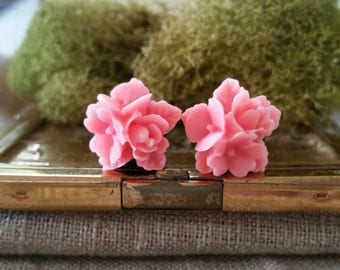 Flower Plugs, Wedding Gauges, Pink Flower Gauges
