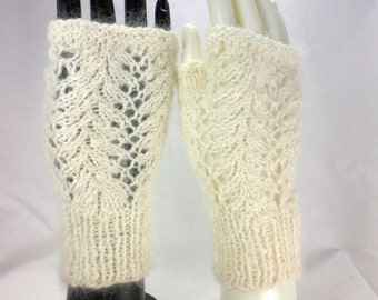 Lacy White Angora Fingerless Gloves