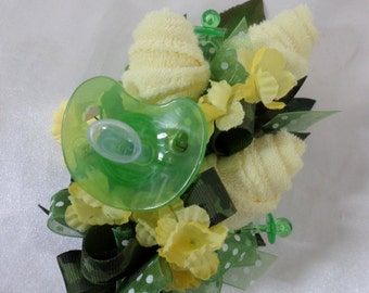 Camo Themed Baby Shower Corsage - Pin On Floral Corsage - Pacifier and Yellow Washcloths - Baby Shower Items