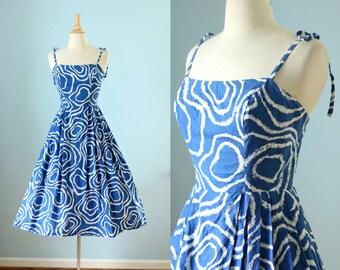 1950s cotton abstract print sun dress  / 50s Pat Premo dress /