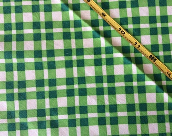 "Vintage Feed Sack Fabric 37"" x 45"" Green Plaid #005A"