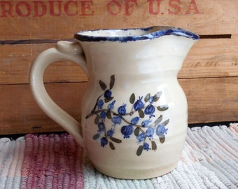 Blueberry pottery decorated small pitcher - 14 oz - handpainted small ceramic creamer - small rustic pottery jug - utensil holder - bb010307