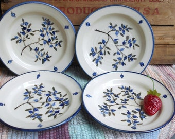 Handmade pottery in blueberries - small plate - rustic style pottery - food prep - ceramic snack plate - set of 4 small plates - 05206