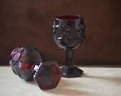 Wine Goblets-Vintage Avon 1876 Cape Cod Ruby Red Wine Glassware--2 Goth Red Sandwich Glass Style--1976-1982