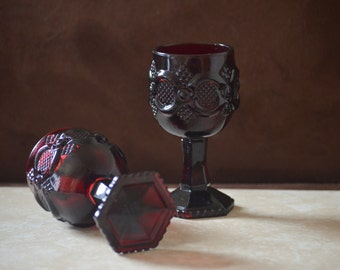 Wine Goblets-Vintage Avon 1876 Cape Cod Ruby Red Wine Glassware--2 Goth Red Sandwich Glass Style--1976-1982