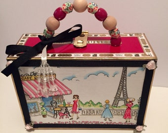 Paris Cafe, Eiffel Tower, French Girl and Poodle Cigar Box Purse/Made to Order