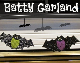 Going Batty Bat Garland for Halloween PDF pattern
