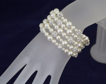 Pearl Bridal Bracelet Wedding Jewelry Vintage Style Bracelet Swarovski Pearl and Rhinestone Bracelet - Ivory