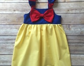 Boutique Girls snow white bow knot dress, size 6mos-8, girls spring dress, baby dress