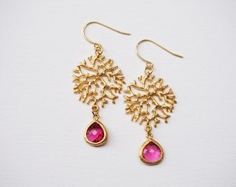 Ruby and gold coral detail earrings. Pink earrings, red earrings, gold earrings.