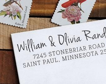Custom Address Stamp, Return Address Stamp, Wedding address stamp, Calligraphy Address Stamp, Self inking address stamp - Olivia