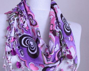 Hearts Scarf - purple scarves gift cotton scarf Turkish scarves