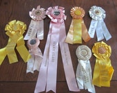 Vintage 1940s 1950s Shabby Pink Yellow White Horse Show Ribbons Set of 8