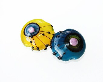 Lampwork pair - Day and Night - Glass beads supplies.