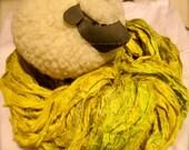 Dijon Recycled Sari Silk Ribbon Yarn 5 - 78 Yards Thin Ribbon for Yarn Jewelry Weaving Spinning