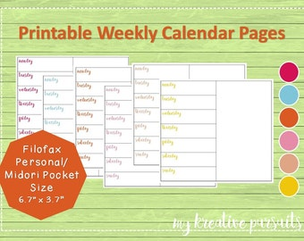 Weekly Planner Pages - One Page Layout, Bullet Journal Pages, Midori Inserts, Printables