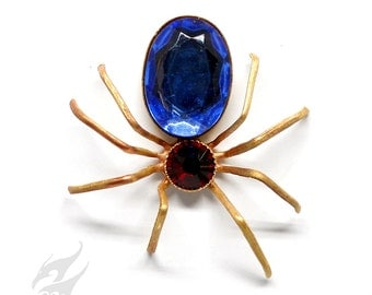 Victorian Steampunk SPIDER Pin Tack Pin Tie Tac Vintage Sapphire Blue & Siam Red Flat Back Rhinestones Bug Jewelry Lapel Pin Hat Pin Pin0131