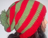 Red and Green Striped Slouchy Beanie, Hat, Pom Pom Hat, Christmas Hat